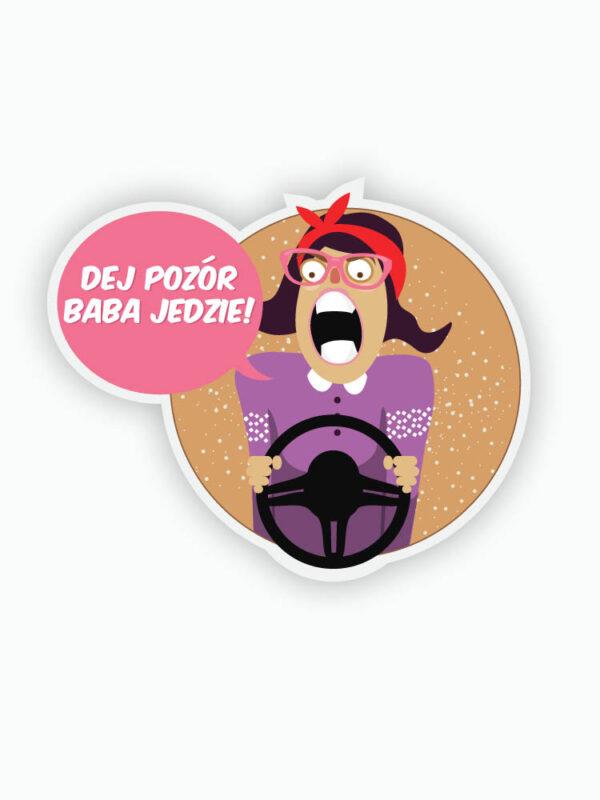 naklejka na auto dej pozór bo baba jedzie śląski sklep qdizajn