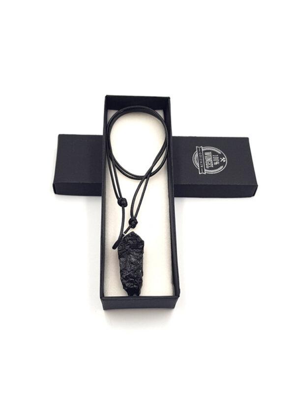 naszyjnik z bryłką węgla, biżuteria z węgla
