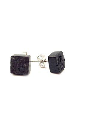 kolczyki z węgla, kwadratowa bryłka z węgla, biżuteria z węgla