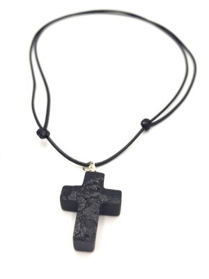 wisiorek z węgla krzyżyk, biżuteria z węgla